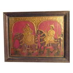 gold foil teak wood Mughal Emperor Tanjore Painting