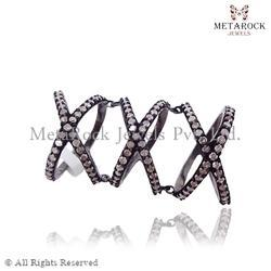 925 Sterling Silver Cross Sign Knuckle Ring