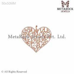 Heart Design Love Diamond Pendant Charm