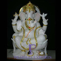 White Marble Ganesh Statues With Gold Ornament