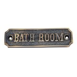 Bathroom Brass Sign