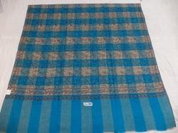 Hand Woven Check Needle Work Pure Pashmina Shawl