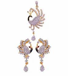 Ethnic Peacock Pendant Set Meenakari Jewellery
