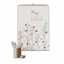 Multi Color Offset Printing Spiral Handmade Paper Calendar For Promotion