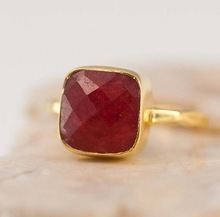 Dyed Ruby Gemstone Silver Ring
