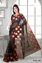 Block Printed Black Cotton Saree