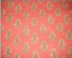 Orange Print Screen Fabric