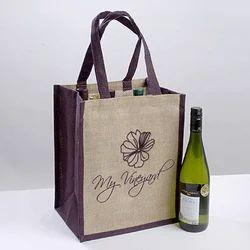 Body Print Jute Wine Bottle Bag