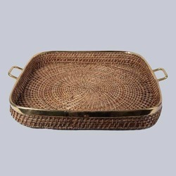 Square Wicker Tray with Handles