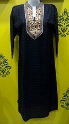 Long Black Chikan Kurti