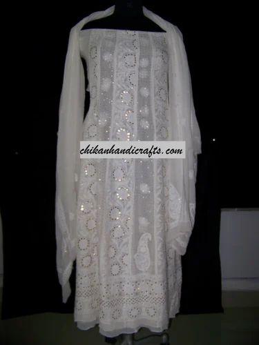 Designer Chikankari Anarkali Suits Chikan Salwar Suit In