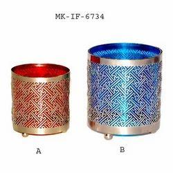 MKI Silver Hurricane Glass Holder, Size: Normal, for Home