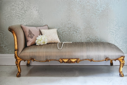 Gold French Chaise Lounge
