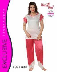 Full Length Ladies Satin Night Suit