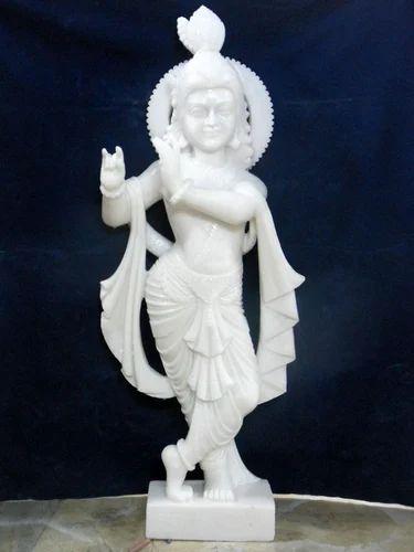 White Makrana Marble Lord Krishna Idol Medium Rs 20000 Pic