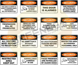 Property and Security Safety Signs