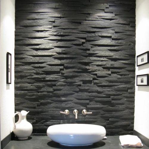 Black Slate Wall Mosaic Tiles Thickness 15 20 Mm