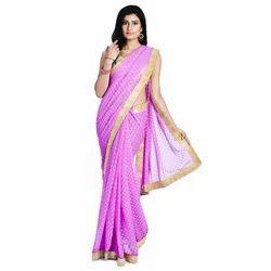 Divas Designerz Pink Georgette Booti Sari with Golden Border