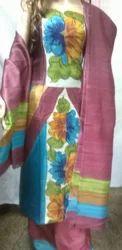 Hand Printed Pure Silk Designer Suit