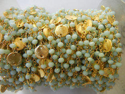 Gold Plated Amezonite Gemstone Sterling Silver Beaded Chain