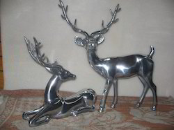 Metal Deer Pair Statue Figurine