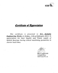 KSB Pumps Certificate of Appreciation