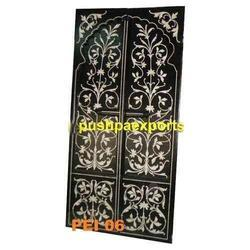 Floral Polished Bone Inlay Doors, Smooth