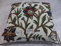 Exclusive Hand- Embroidered Crewel Cushion Cover