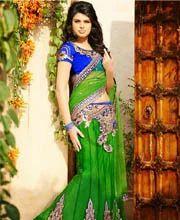 Fascinating Green Net Lehenga Saree