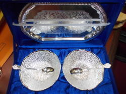 Silver Plated Tray with 2 Bowls