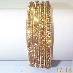 Party Wear Golden Square Shape Stone Bangles, Round, 6