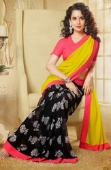 Yellow Faux Georgette Designer Printed Saree