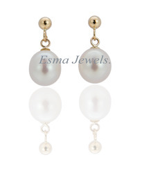 Silver - Pearl Gold Plated Earring