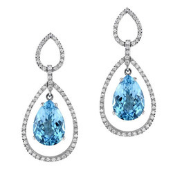 Blue Topaz Diamond Earring