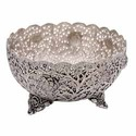 White Metal Round Fruit Bowl