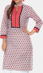 White And Pink Floral Kurti