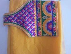 Kach Pattern Blouse With Chiffon Saree