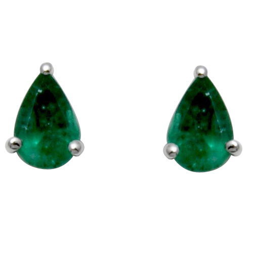 India Star Emerald: Gold Pears Emerald Stud Earring, Gemstone Jewellery