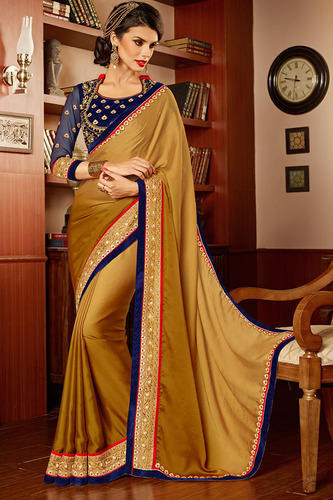 48c5768cf4dfca Forever Cream Color Unique Border Work Saree With Blouse - Sky ...