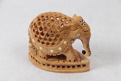 Wooden Jaali Inlay Elephant