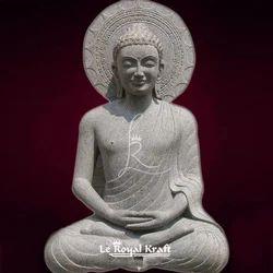 Le Royal Kraft White Stone Buddha Sculpture