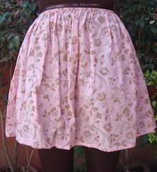 Mini Pink Hand block Print Beach Wear Skirt, Medium