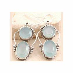 Turquoise Blue Chalcedony Earrings Set
