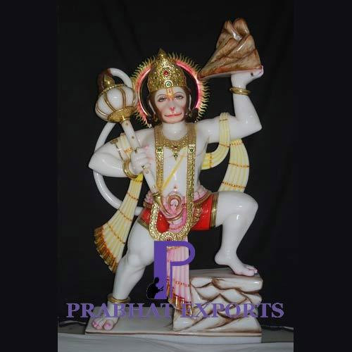 Prabhat Multicolor Marble Statue Of Hanuman, for Worship