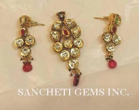 Kundan polki pendant earring set sancheti gems inc new delhi kundan polki pendant earring set aloadofball Choice Image