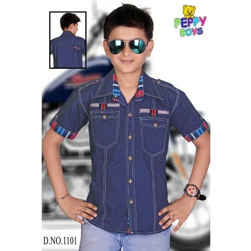 ff8ca811597 Kids Navy Blue Denim Shirts at Rs 750  piece