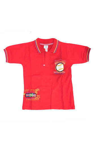 Red Colour Kids Polo T Shirts Adhaans Garments Cosmetics