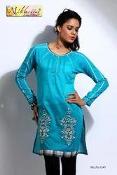 Charming Designer Blue Kurti Tunic Top