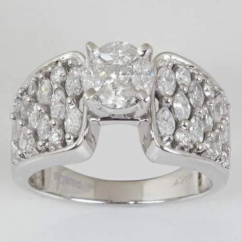 Designer Diamond Solitaire Rings 14k White Gold Marquise