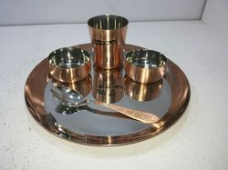 Copper Round Thali Set